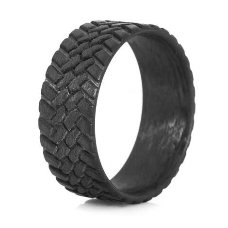 Superbe Menu0027s Carbon Fiber Off Road Tread Wedding Ring