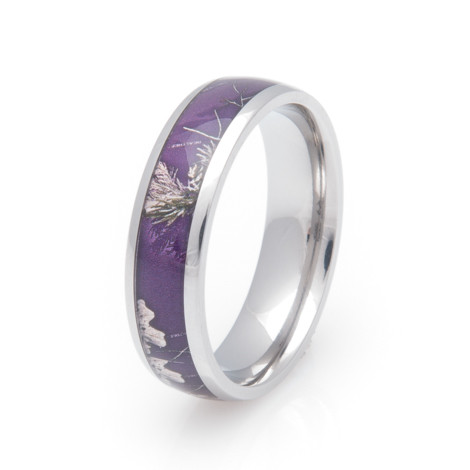 Delightful Womenu0027s Titanium Realtree® AP Purple Camo Ring