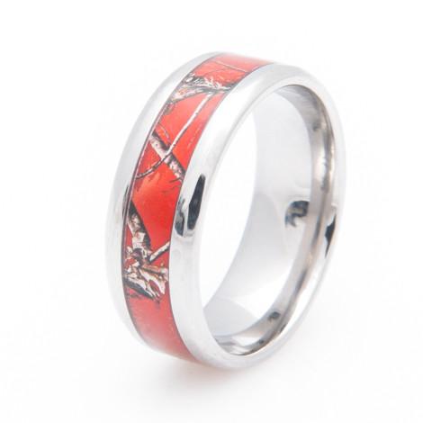 Womens Titanium Realtree Red Camo Ring TitaniumBuzz