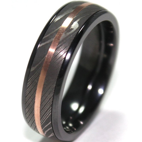 Men S Black Zirconium Ring With Damascus Steel And 14k