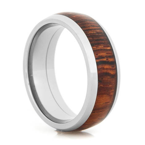 Men S Dome Profile Polished Anium Cocobolo Wood Inlay Wedding Ring