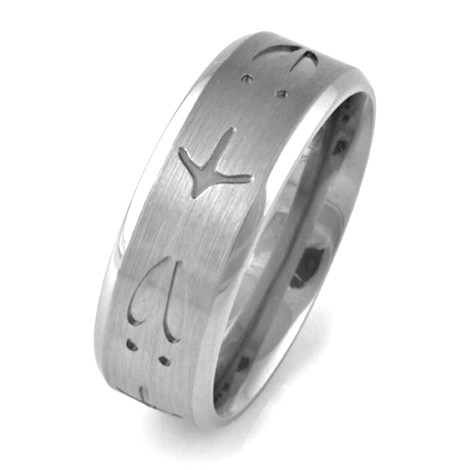 Men S Anium Deer And Turkey Track Wedding Band