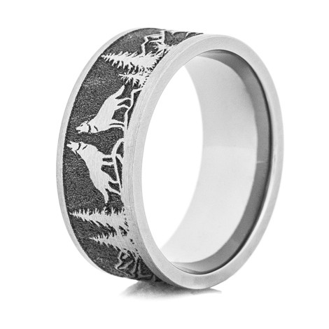 Mens LaserCarved Titanium Wolf Ring TitaniumBuzz