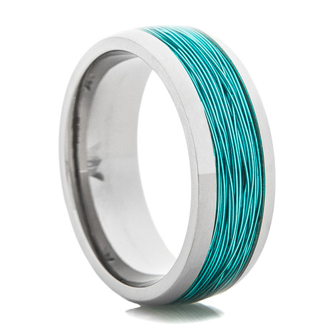 Titanium ring with ice blue fishing wire inlay titanium buzz for Mens fishing wedding bands