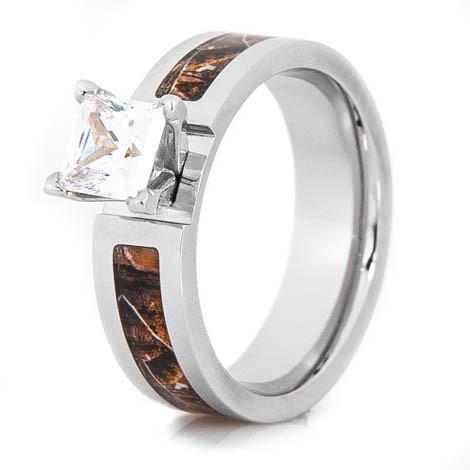 Women S Cobalt Chrome Realtree Camo Princess Cut Engagement Ring