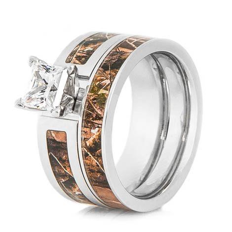 Womenu0027s Cobalt Chrome Realtree® Camo Wedding Ring Set ...