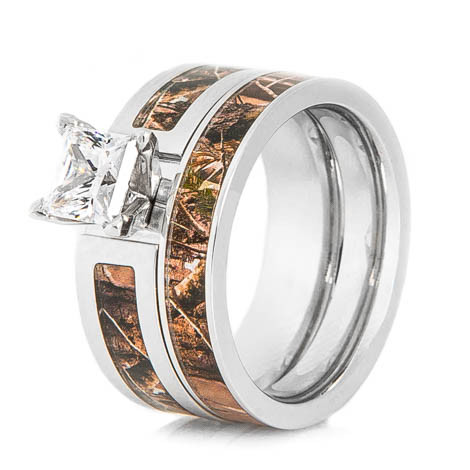 Womenu0027s Cobalt Chrome Realtree® Camo Wedding Ring Set