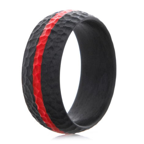 Men S Fearless Thin Red Line Carbon Fiber Ring Titanium Buzz