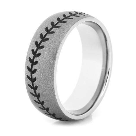 Gunmetal Titanium Baseball Wedding Ring Titanium Buzz