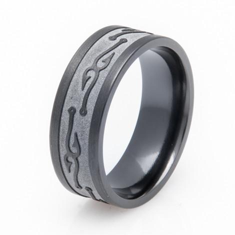 Textured black fish hook wedding band titanium buzz for Mens fishing wedding bands