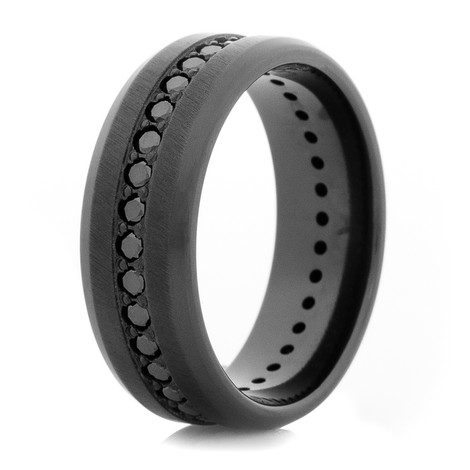 Men S Black Zirconium Black Diamond Eternity Ring