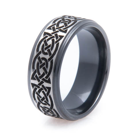 Men S Black Zirconium Celtic Knot Ring
