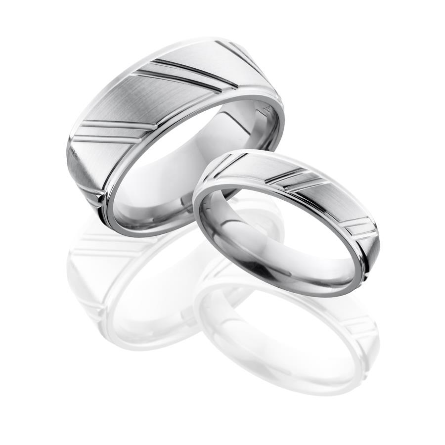 Cross Cut Cobalt Chrome Wedding Rings Set Titanium Buzz