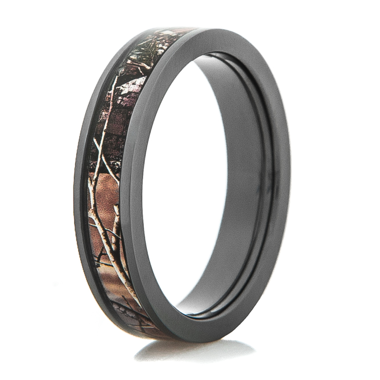 Womenu0027s Black Zirconium Camo Wedding Ring ...