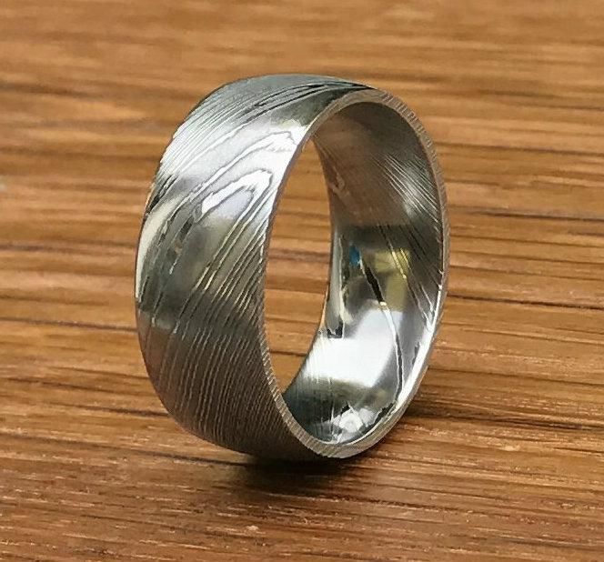 Dome Profile Damascus Steel Wedding Ring