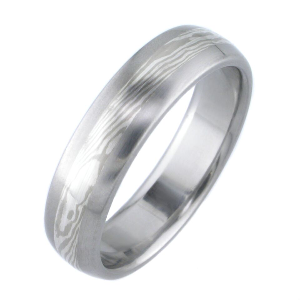 White Gold And Silver Twist Mokume Wedding Ring