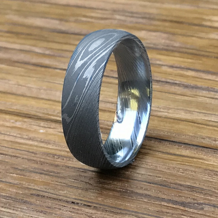 Men S Stainless Damascus Steel Wedding Band With Acid Finish