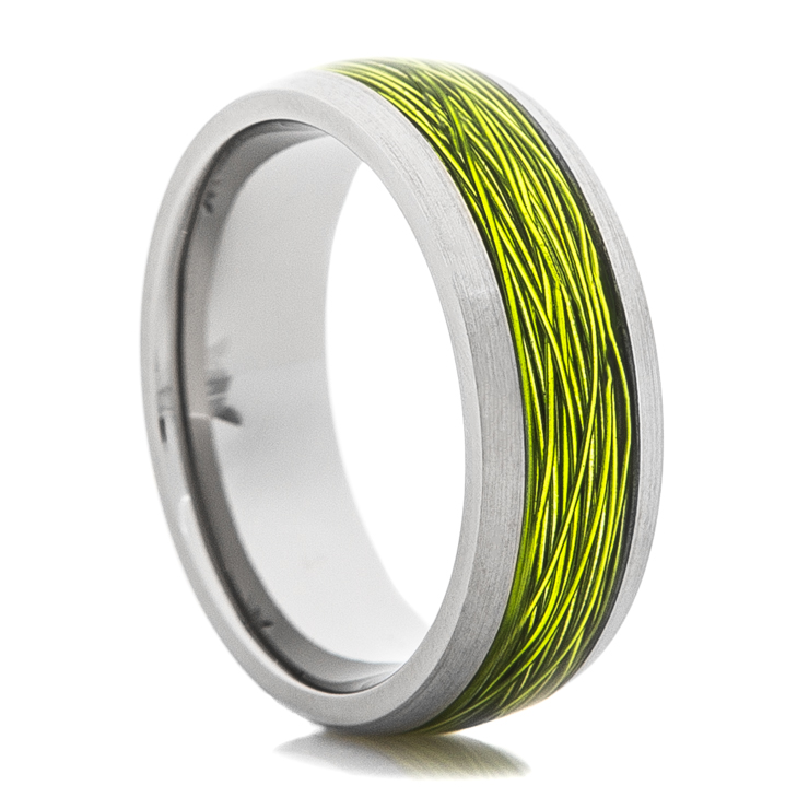 Titanium Ring With Green Fishing Wire Inlay Titanium Buzz