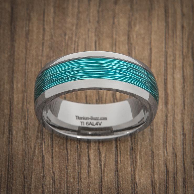 Titanium Ring with Ice Blue Fishing Wire Inlay - Titanium-Buzz