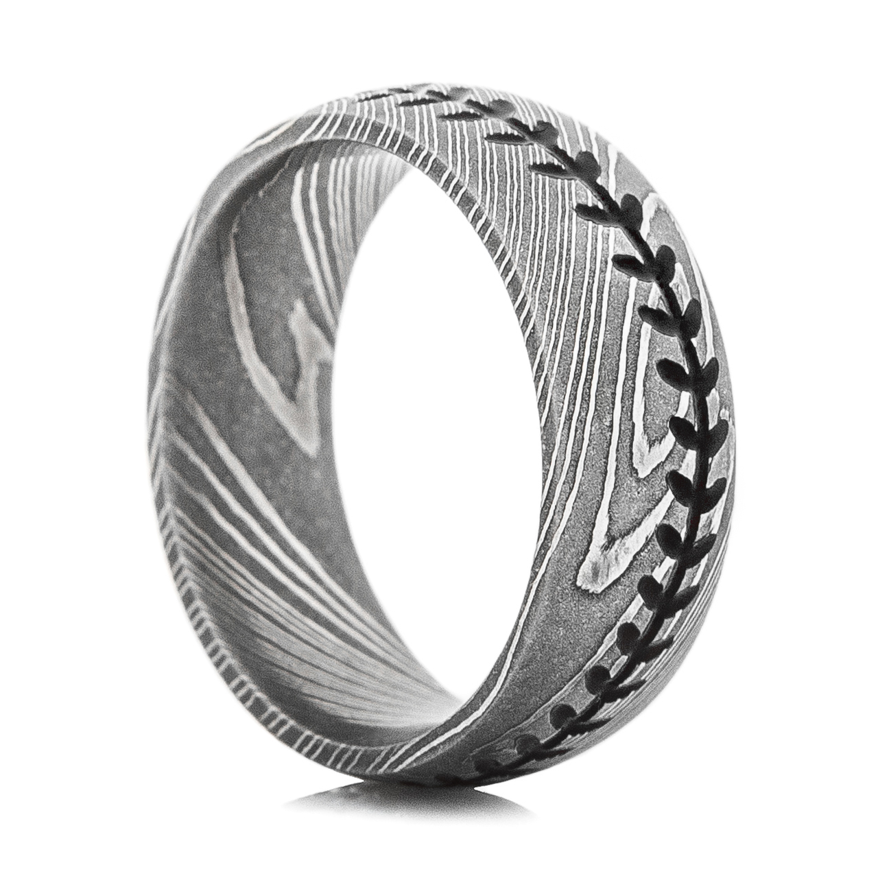 Men\'s Damascus Steel Baseball Stitch Ring - Titanium-Buzz
