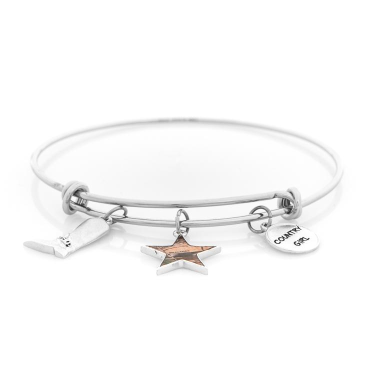 Silver Wire Realtree Country Girl Bracelet - Titanium-Buzz