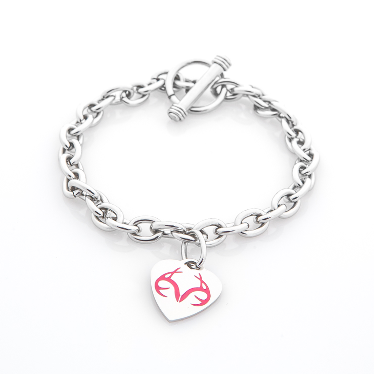 Breast Cancer Awareness Realtree Heart Bracelet with Pink Ribbon and Antler Charm
