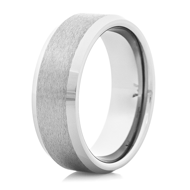 Men's Satin Tungsten Carbide Ring with Raised Center