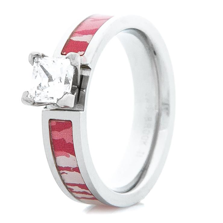 Women's Cobalt Chrome Pink Mossy Oak Bottomland Engagement Ring