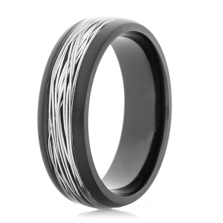 Mens Black Zirconium Ring with Silver Fishing Wire Inlay Titanium