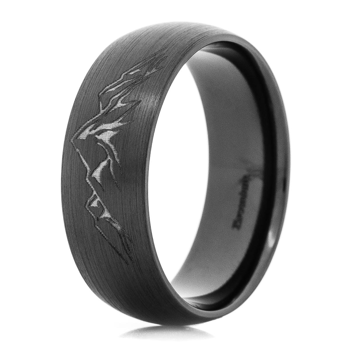 Men's Black Zirconium Carved Mountain Ring