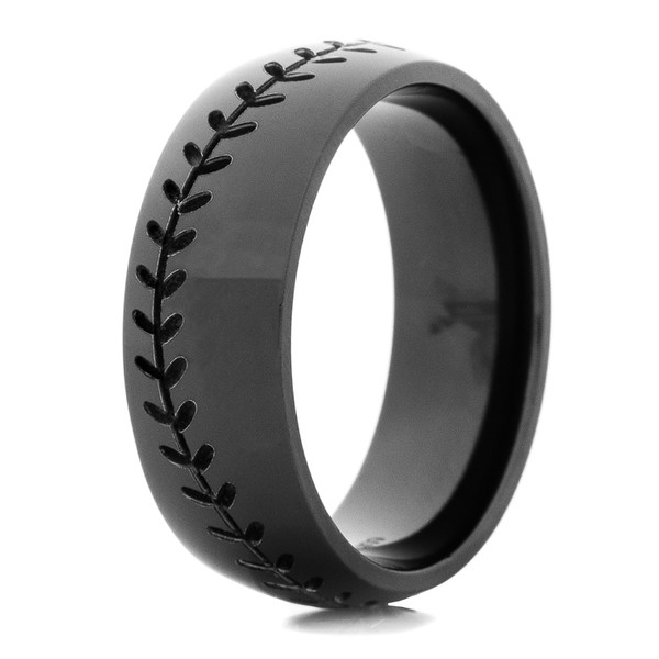 baseball wedding ring men s black baseball ring titanium buzz 1509