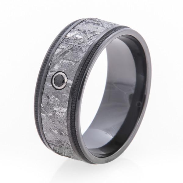 Men S Black Zirconium Diamond Gibeon Meteorite Ring