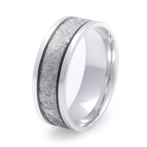 Men S Black Groove Cobalt Gibeon Meteorite Ring Unique