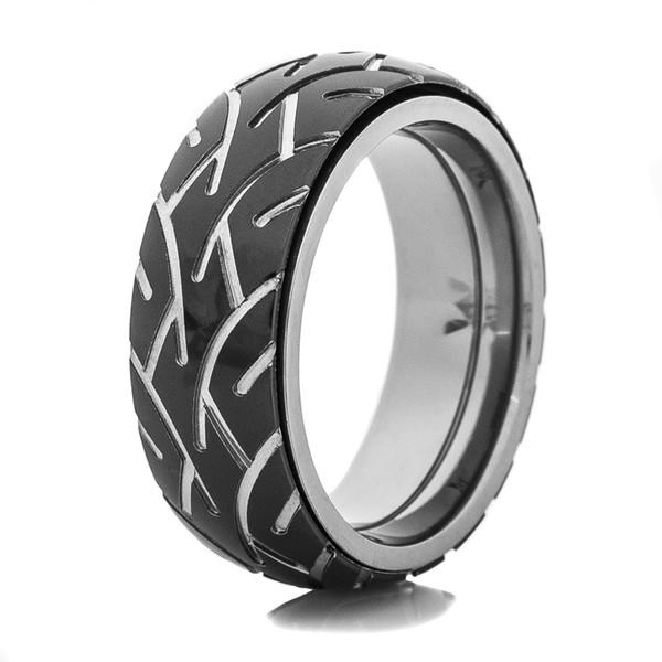 Men S Black Motorcycle Spinner Ring Titanium Buzz