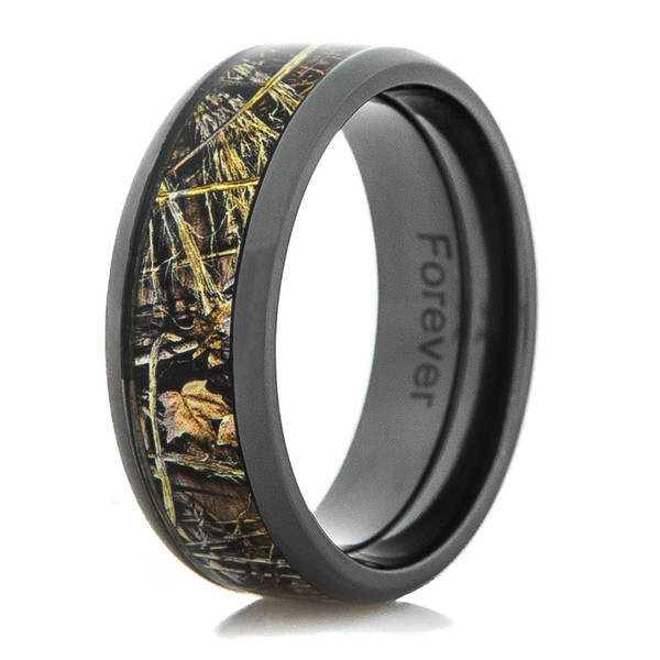 Silicone Wedding Band >> Black Zirconium Realtree MAX-4 Camo Ring - Titanium-Buzz