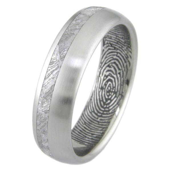 Men S Titanium Meteorite Ring With Personalized Inner