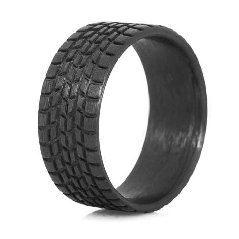 Men S Carbon Fiber Sport Tread Ring Titanium Buzz