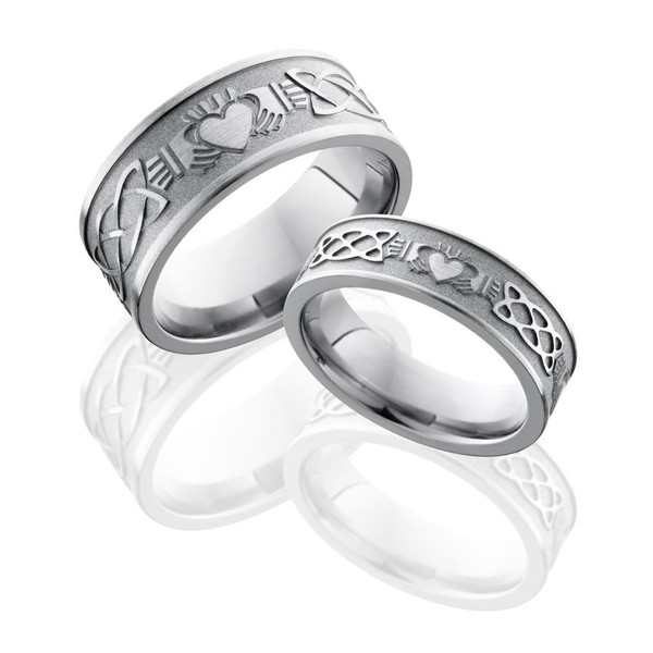 Titanium Claddagh Wedding Rings Set Titanium Buzz