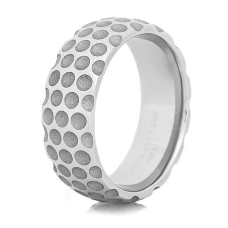 Men S Cobalt Golf Ball Wedding Ring Titanium Buzz