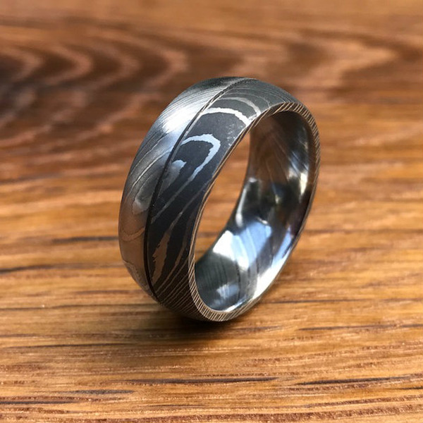 Wood Mens Wedding Bands Canada: Men's Dual Finish Damascus Steel Ring With Center Groove