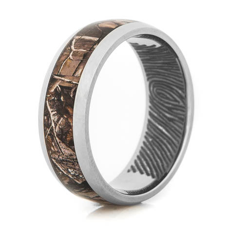 fingerprint wedding band rings ring custom views engagement unique tungsten style more flat