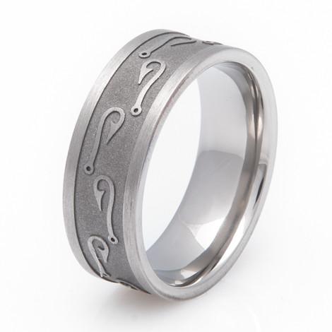 Silicone Wedding Band >> Men's Titanium Fish Hook Ring - Titanium-Buzz