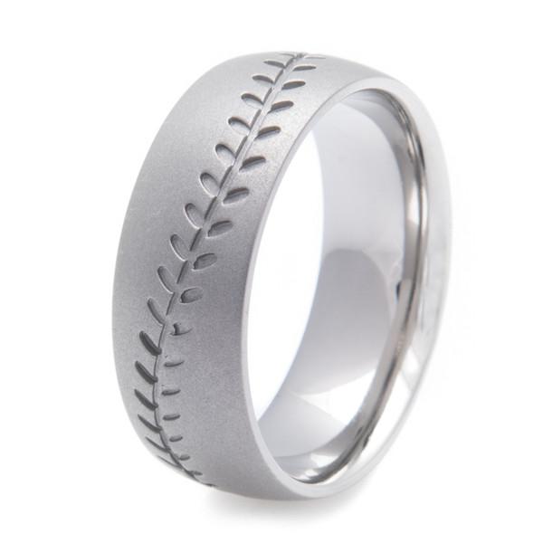 Men S Gunmetal Baseball Stitch Ring Titanium Buzz