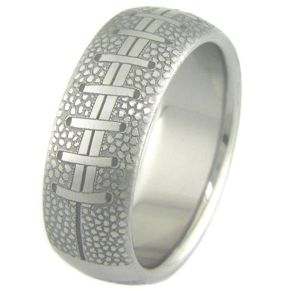 wedding college titanium mens football rings laces engraved laser buzz ring men s