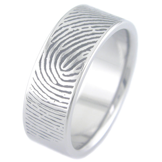 Fingerprint Wedding Ring Unique Titanium Rings More TitaniumBuzz