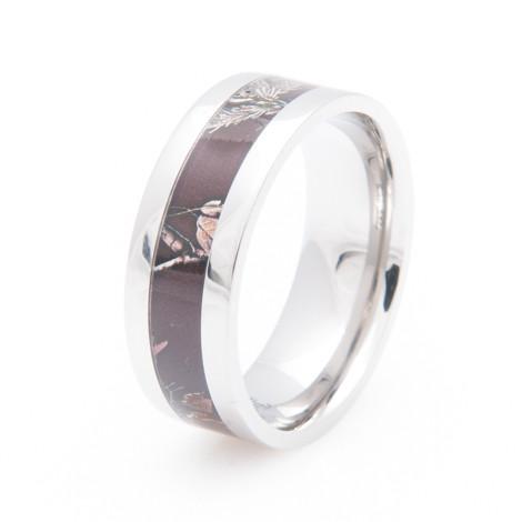 Womens Womens Titanium Realtree Maroon Camo Ring Titanium