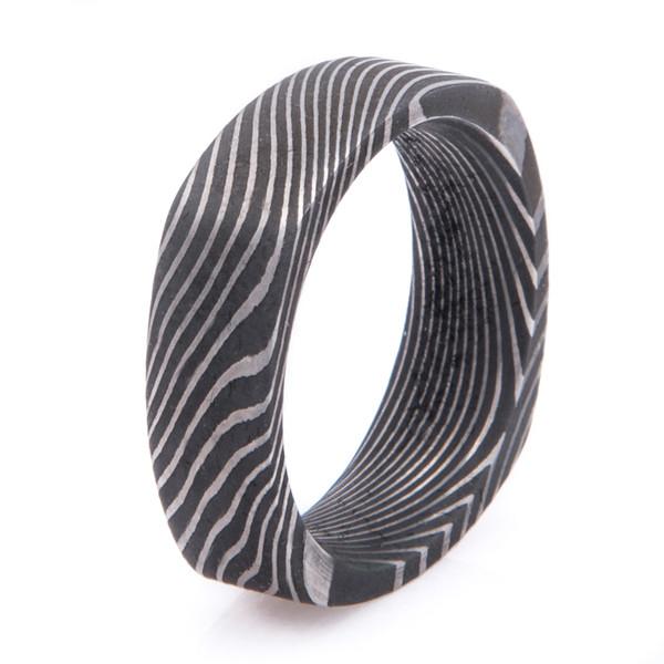 Square Damascus Steel Ring With Twist Pattern Titanium Buzz