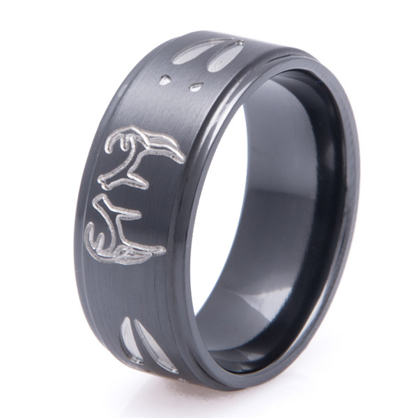 Step Down Two Tone Buck Ring Unique Titanium Rings
