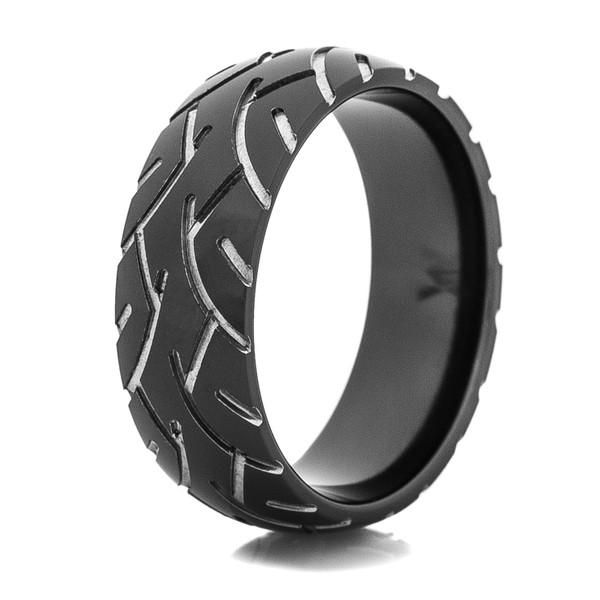 Men S Black Super Slick Tire Tread Ring Titanium Buzz
