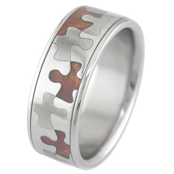 Men S Dome Profile Polished Anium And Hardwood Puzzle Ring